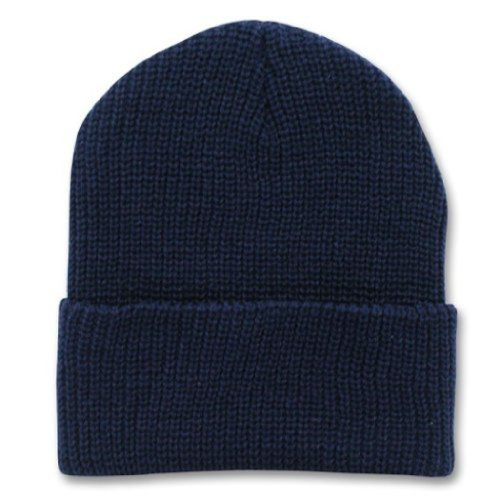 Decky 12 Inch Long Knit Watch Cap Beanie (One Size, Navy Blue)