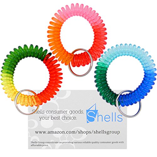 [Shells 3Pack Colorful Bright Assorted Pearlized Gradual Changing Colors Plastic Spiral Coil Wrist Band Key Ring Chain] (Wrist Coil Key Ring)