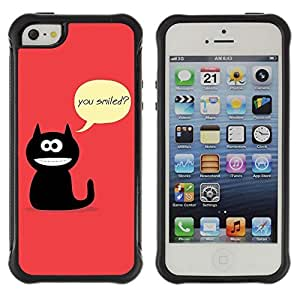 Hybrid Anti-Shock Defend Case for Apple iPhone 5 5S / Cat Asking Questions