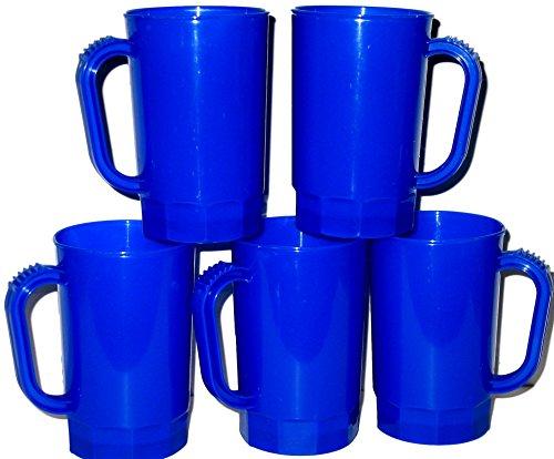 (Talisman, Plastic Beer Mugs, 1 Pint, Pack 10, Color Blue)