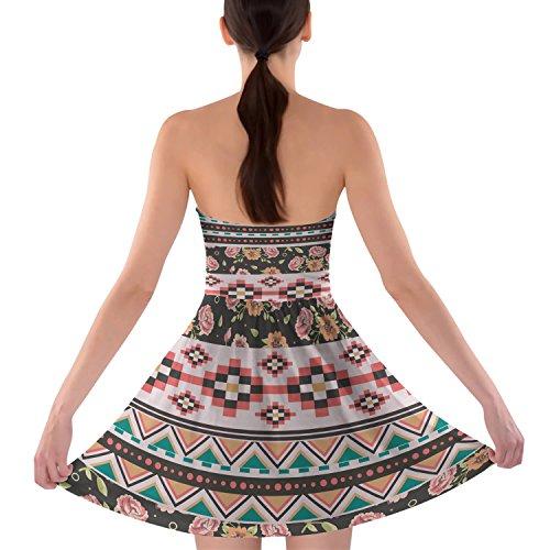 Floral azteca tribales sujetador sin tirantes vestido