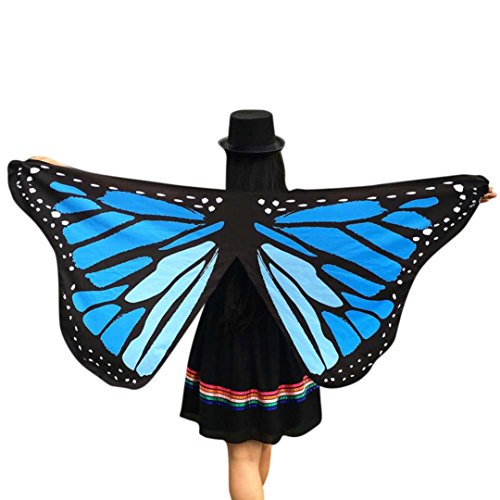 [Yoyorule Butterfly Wings Adult Halloween Costume Accessory, 145x65CM (Blue)] (Scarf Halloween Costumes)