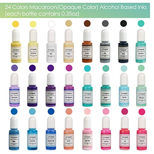 LET'S RESIN Alcohol Ink Set- Opaque Alcohol Resin Inks 24 Colours,Pastel Alcohol-Based Inks for Resin,Alcohol Paint Color Dye for Resin Petri Dish Making,Resin Art,Epoxy Resin Painting (Each 0.35)