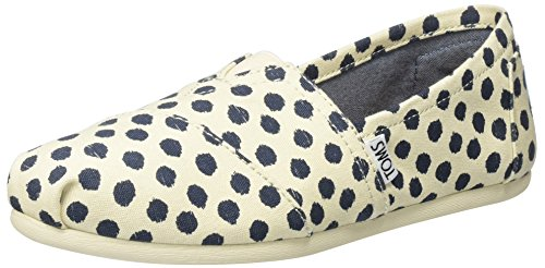 TOMS Womens Classic Linen Rope-Sole Comfortable and Easy-Fit Slip-On Natural/Navy Polka Dot GwDO1ZWzOh