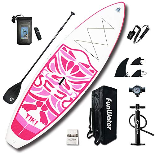 """FunWater Inflatable 10'6×33""""×6"""" Ultra-Light (17.6lbs) SUP for All Skill Levels Everything Included with Stand Up Paddle Board, Adj Paddle, Pump, ISUP Travel Backpack, Leash, Waterproof Bag"""