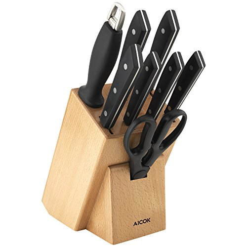 (Aicok knife set, Professional 9-Piece Kitchen Knife Set with Wooden Block, Germany High Carbon Stainless Steel Cutlery Knife Block Set)