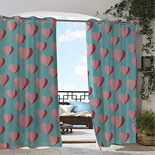 Linhomedecor Patio Waterproof Curtain Valentines Day Simplistic Continuous Pattern Origami Paper Like Hearts Pale Ru Seafoam and Rose pergola Grommets Parties Curtains 96 by 84 ()