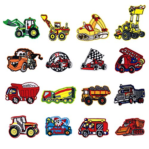 Car Iron on Patches Excavator, Racing car, Fire Truck Iron on Patches, Woohome 16 PCS Car Sew-on Applique Sew On Patches for Kids DIY Crafts Clothing Jeans Jackets Bags Iron-on Repair Kit
