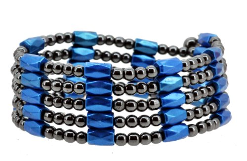 Blue Magnetic Simulated Hematite Beaded Necklace, Wrap Bracelet, Anklet Wrap Bracelet Anklet