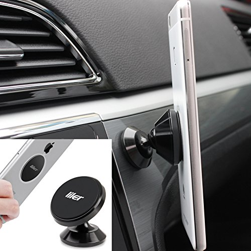 LILER Mini Universal Magnetic Car Mount For any Phone, GPS | iPhone 7/6/5 Galaxy S7/S6 | Cell Phone Holder | Dashboard Mount | Magnetic Cell Phone Holder for Car, Home and Office (Black)