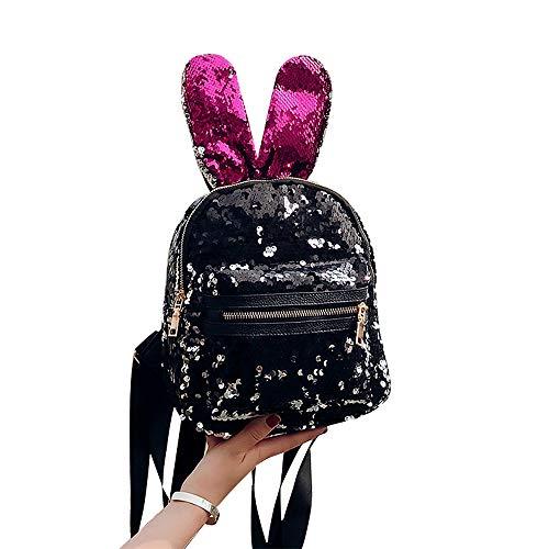 Mini Black Pink Backpack for Girls Sequin Leather Designer Glitter Backpack Purse Urban Daypack Kids Shoulder Bag ()
