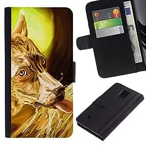 eJoy---La carpeta del tirón la caja de cuero de alta calidad de la PU Caso protector - Samsung Galaxy Note 4 IV - --Golden Australian Terrier Sheep Corgi