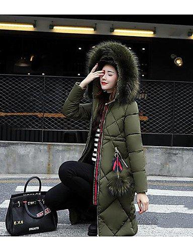 ShangYi Simple amp; larga mujer a polipropileno Gris Casual edredón largo rayas poliéster Abrigo de liso TT manga 5Axqw0g0