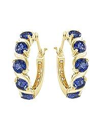 Blue Sapphire September Birthstone Hoop Earrings In 14K Gold Over Sterling Silver