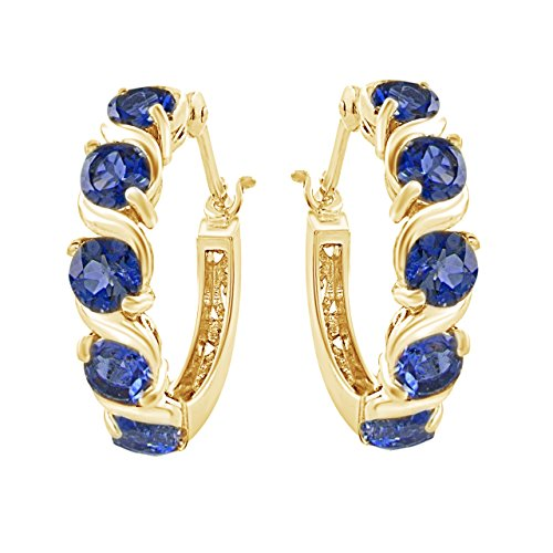 (Mothers Day Jewelry Gifts Simulated Blue Sapphire Hoop Earrings In 14K Gold Over Sterling Silver)