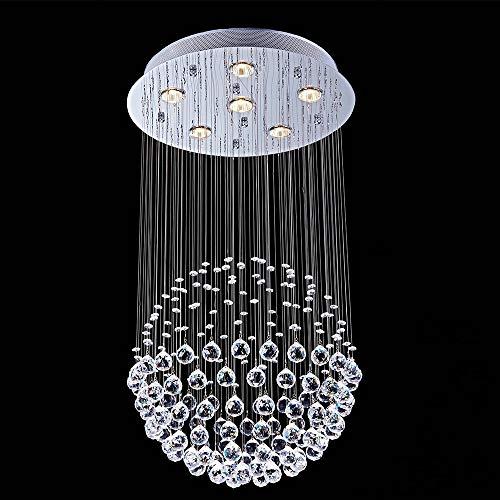 Windsor Home Deco WH-63568 Ceiling Lamp, K9 Crystal Ceiling Lights Flush Mount, Round Crystal Chandelier Spot Light GU106