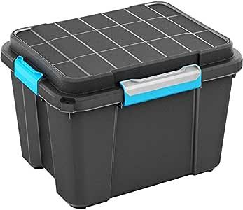 CURVER Caja de almacenaje plástico, Scuba Box, negro/azul, M: Amazon.es: Hogar