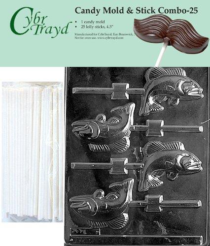 Cybrtrayd 45St25-N009 Fish Lolly Chocolate Candy Mold with 25 Cybrtrayd 4.5