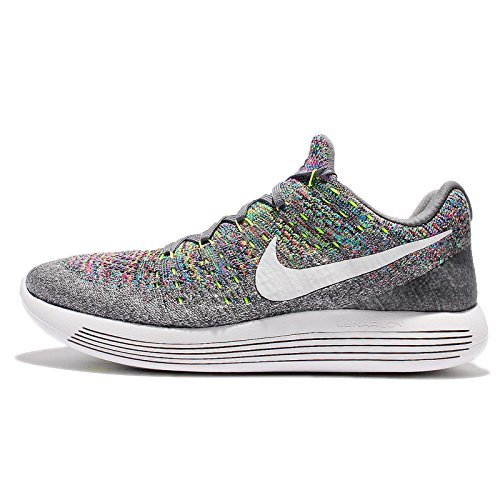 Zapatillas de running Nike LunarEpic Low Flyknit 2 para hombre COOL GREY / WHITE-VOLT-BLUE GLOW 14.0