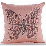 """Luxury Pink Pillow Shams, Beaded Butterfly Pillow Shams, 24""""x24"""" Pillow Shams, Square Cotton Linen Shams, Contemporary Pillow Shams - I Can Fly"""
