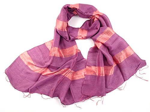 (NEW - COOL TRADE WINDS - LADIES WIDE SILK BLEND SCARF SHAWL: Hand Loomed in Thailand, a twist on a classic silk scarf - Size 178 x 56cm (Purple))