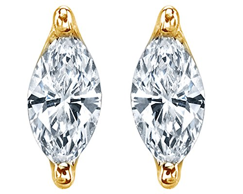 18K Yellow Gold Over Sterling Silver Marquis Cut White Cubic Zirconia Marquise Stud Earring (Cubic Marquise Stud Zirconia)