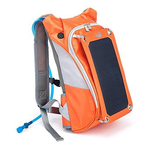 Zaino Arancione con caricatore solare USB e borsa di acqua da 2 litri 4f7d66cea5b
