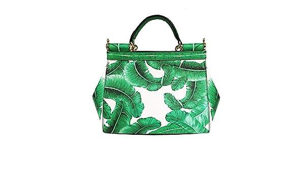 Amazon.com: Banana Leaf Print Bag Womens Tote Bag, Genuine Leather, Fresh Green Handbags, Lxuury Brand Women Bags, High-end Design Sac Color green 25cm: ...