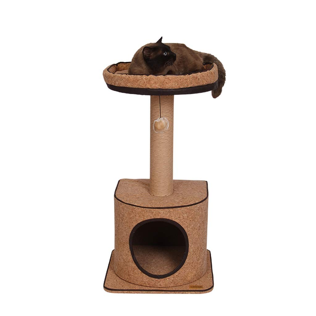 TT Small 2-layer Cat Tree,Cork Series Cat Climbing Toys,Spring summer Cat Nest,Sisal Grinding Column,40  40  77cm Only 1 Size