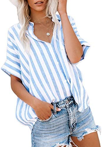 HOTAPEI Womens Casual V Neck Striped Cuffed Sleeve Button Down Collar Blouses Shirts