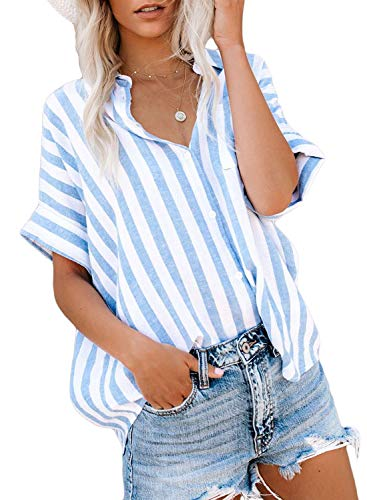 Astylish Women Summer Short Sleeve Collared Button Down Striped Shirt Tops Medium 8 10 Stripe Button Down Shirt Jeans