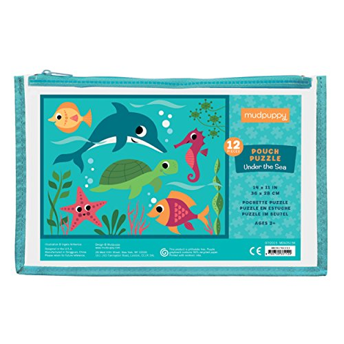 (Mudpuppy Under the Sea Pouch Puzzle, 12 Extra Thick Colorful Pieces, 14