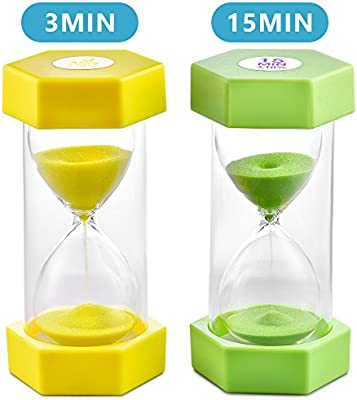 Sand Timer VAGREEZ Hourglass Sand Timer 3 Minutes 15 Minutes Timer Clock  Toothbrush Timer for Kids Games Classroom Home Office Kitchen Use (Pack of  2)