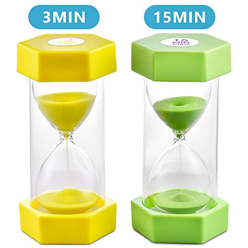 Sand Timer VAGREEZ Hourglass Sand Timer 3 Minutes 15 Minutes Timer Clock Toothbrush Timer for Kids Games Classroom Home Office Kitchen Use (Pack of 2)]()