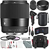 Sigma 30mm f/1.4 DC DN Contemporary Lens for Sony E and Bundle w/Lens Case + Xpix 2-in-1Tripod + Camera Case + Deluxe Xpix Cleaning Kit + More
