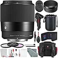 Sigma 30mm f/1.4 DC DN Contemporary Lens for Sony E and Bundle w/ Lens Case + Xpix 2-in-1Tripod + Camera Case + Deluxe Xpix Cleaning Kit + More