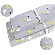 Changing Pad Cover Set 2 Pack 100% Cotton Fits Standard Contoured Changing Table Pads Cover for Baby Boys or Girls Gray Elephant and Yellow Stars