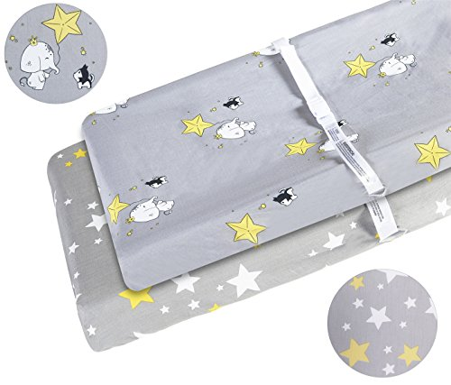 Changing Pad Cover Set 2 Pack 100% Cotton Fits Standard Contoured Changing Table Pads Cover for Baby Boys or Girls Gray Elephant and Yellow Stars by Kachabros
