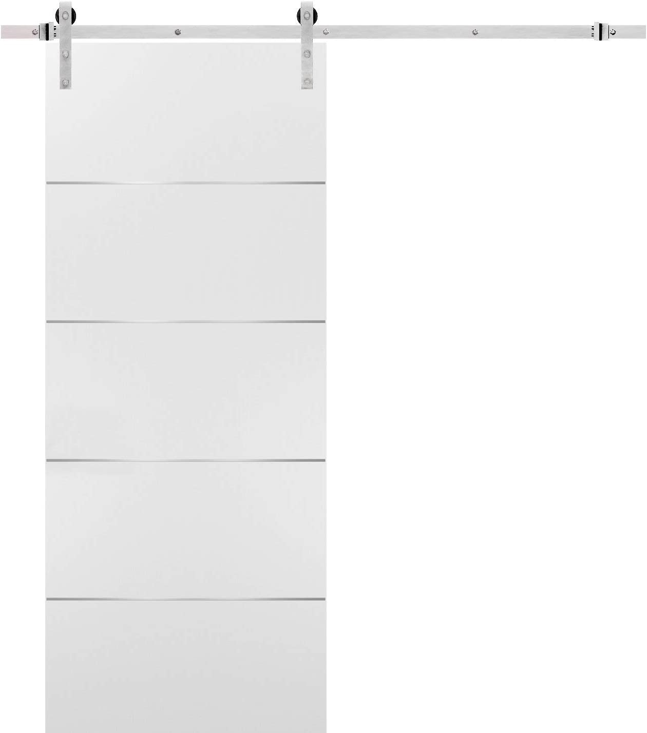 Barn Sliding White Door 32x80 with Stainless Steel Hardware   Planum 0020 Matte White   Rail 6.6FT Hangers Silver Set   Closet Modern Solid Core Door