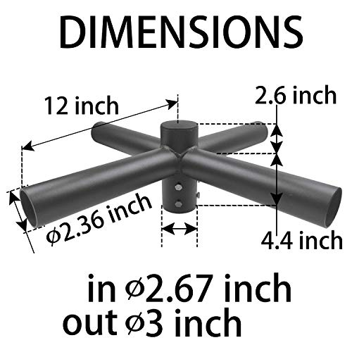 1000LED Quad 90 Degree Horizontal Tenon Adapter, Quad Spoke Bracket for 3 Inch Round Pole, Lighting Mounted Accessories for LED Shoebox Parking Lot Light, Street Light - Quad Bracket