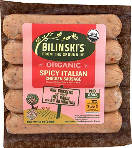 Chicken Smoked Sausage - Bilinski, Sausage Chicken Italian Spicy Organic Step 3, 12 Ounce