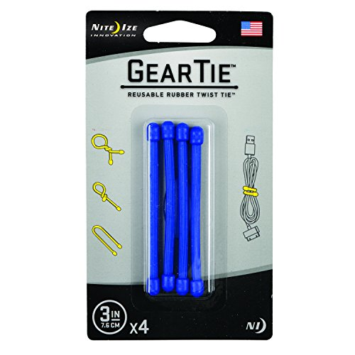 Nite Ize Original Gear Tie, Reusable Rubber Twist Tie, Made in the USA, 3-Inch, Blue, 4 Pack