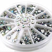 ICYCHEER Mix Size 3D Nail AB Rhinestone Gem Crystal 3D Nail Art Decoration Wheel Manicure