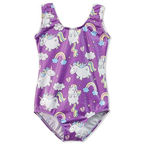 - Gymnastics Leotards for Girls Unicorn 5t Size 5-6 Purple Sparkly Rainbow Print