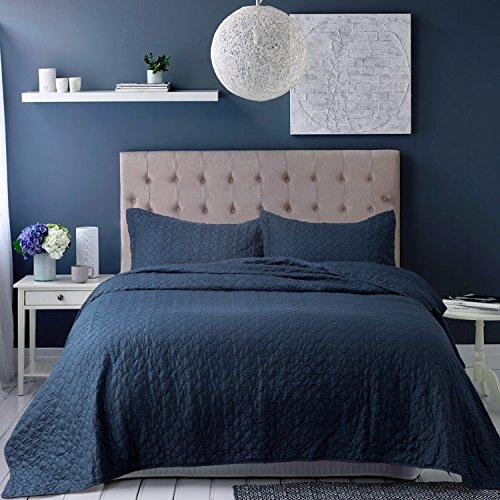 Bedsure Bedding Quilt Set Queen/Full size Navy Blue 86x96 Qu