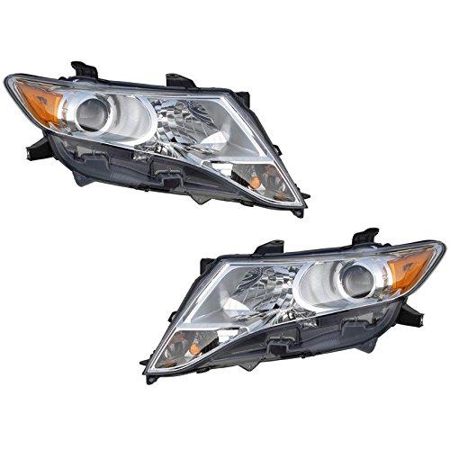 (Halogen Headlight Headlamp Head Light Lamp Pair Set for 09-13 Toyota Venza)