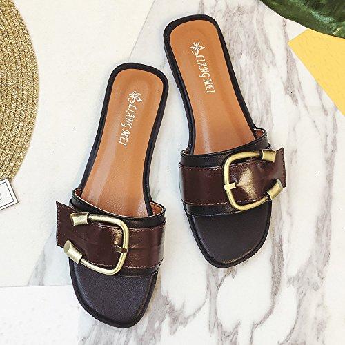 Ularma Zapatos sandalias Peep-toe baja talón romana de las mujeres negro