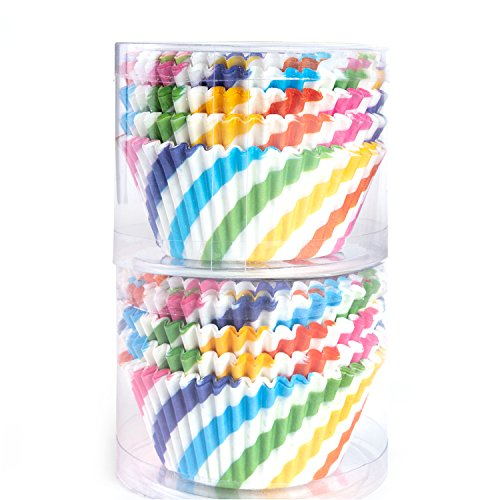 - STARUBY Paper Baking Cups 200 Count Muffin Cupcake Liners Rainbow Styles Standard Size Baking Cups Disposable Cupcake Carrier