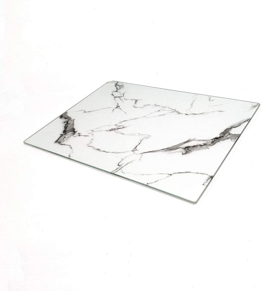 U HOME Glass Cutting Board 16 x 12 inch Set of 1, Decorative Square Marble Cutting Board for Kitchen with Tempered Glass White