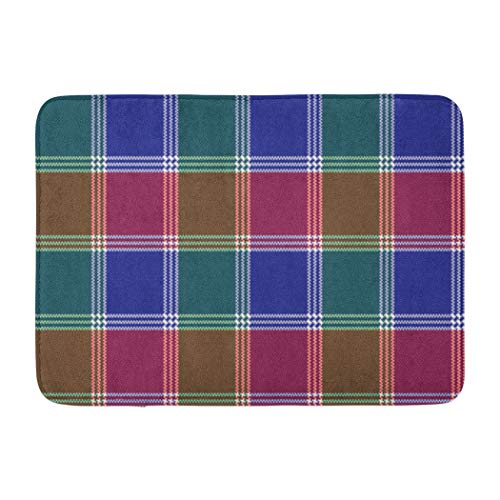 Darkchocl Decorative Bath Mat Modern Mosaic Plaid Abstract Black Buffalo Check Checkered Classic Absorbent Non-Slip 100% Flannel 17''L x 24''W for Bathroom Toilet Bath tub Living Room